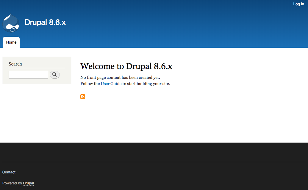 Drupal 8.6.x front page screenshot