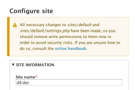 All necessary changes to sites/default and sites/default/settings.php have been made, so you should remove write permissions to them now in order to avoid security risks. If you are unsure how to do so, consult the online handbook.