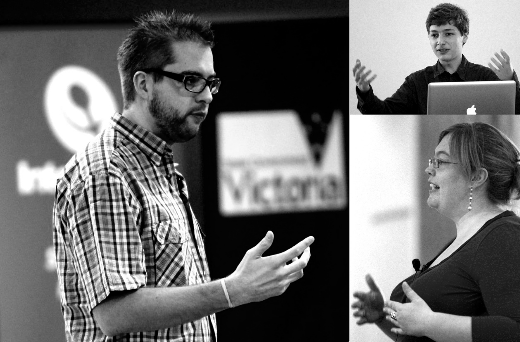 Dries Buytaert, Dmitri Gaskin and Gian Wild - delivering keynote speeches at DDU2012