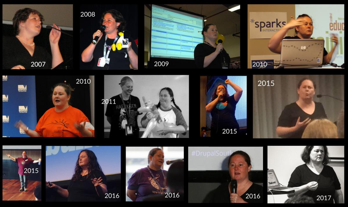 Montage of Donna Benjamin speaking at events over the past decade