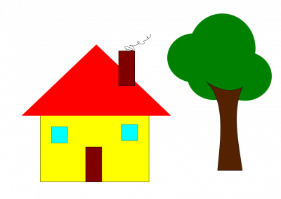 A very basic house and tree, drawn with Inkscape