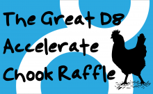 The Great D8 Accelerate Chook Raffle (a silly chicken silhouette and the Drupal 8 logo)